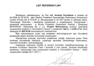 BIPROWOD - List Referencyjny na PW COŚ w Tarnowskich Górach