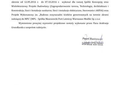 Referencje na Projekt budowlany oczyszczalni ścieków dla lotnika MPL Warszawa-Modlin