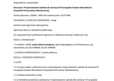 Przeprowadzenie wykładu dla słuchaczy PS Europejskie Studium Menedżerów Gospodarki Komunalnej i Mieszkaniowej_s1