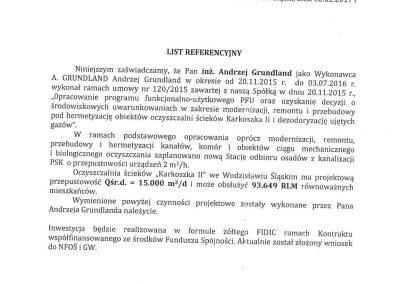 Referencje na PFU modernizacji i rozbudowy oczyszczalni ścieków Karkoszka II Wodzisław Śląski