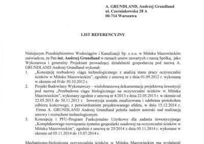 Referencje dla A.Grundland PWiK Mińsk Mazowiecki