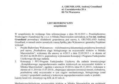 Referencje dla A.Grundland PWiK Mińsk Mazowiecki uzupełnienie
