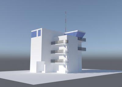 Widok projektowanej Wieży kontroli lotów (TWR) W-wa Modlin